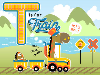 Vector cartoon of dinosaurs  with yellow train on landscape background