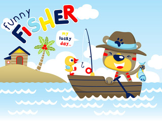 Funny fisher cartoon vector on wooden boat
