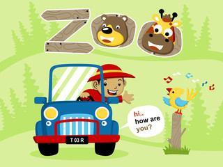 Vector cartoon of vacation to the zoo