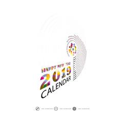2019 Calendar Template.Spiral calendar.Calendar 2019 Set of 12 Months.Yearly calendar vector design stationery template.Vector illustration.