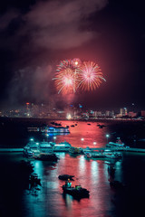 Colorful of firework in Pattaya beach, Thailand