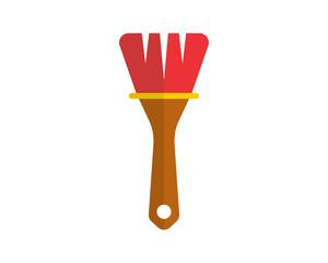 paint brush construction repair fix engineering tool equipment image vector icon logo