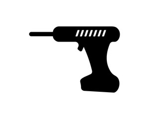 electric drill construction repair fix engineering tool equipment image vector icon logo silhouette