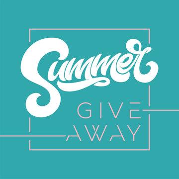 Giveaway banner for summer contests in social media. Vector template for banner, poster, flyer, ad, print design. Vector illustration.