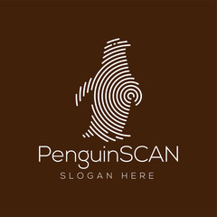 Penguin Scan technology logo vector element. Animal Technology Logo template