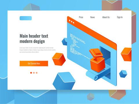 Website development concept, search engine optimization, add-on module plugin programming, web page isometric technology