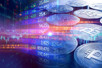 double exposure image of stock market investment graph on stacks of Bitcoins.