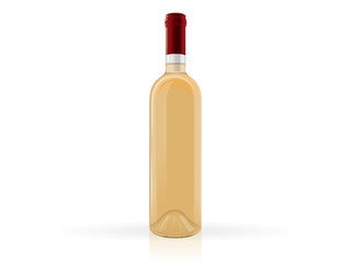 transparent bottles of wine on a white background