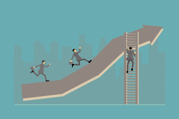 Competitive business people who are highly effective will find Path to the goal.Business concept vector illustration