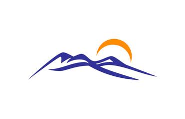 Blue mountain and Sun Logo