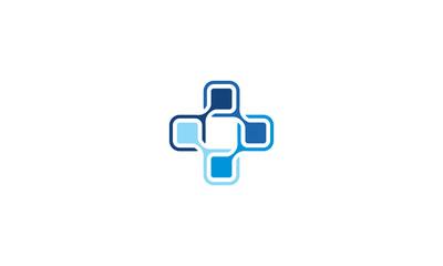 plus cross-connect communication technology logo icon vector