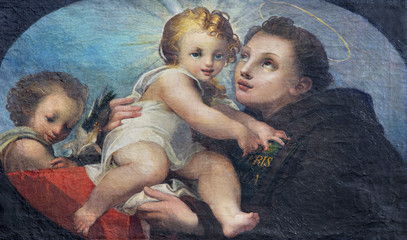 Printed kitchen splashbacks Monument PARMA, ITALY - APRIL 17, 2018: The painting of St. Anthony of Padua in church Chiesa di San Uldarico.