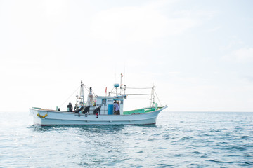 朝日に輝く海、海女を乗せた船がアワビ・サザエの漁場に到着