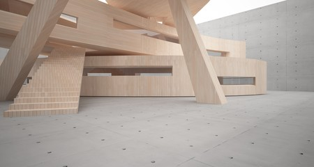 Wall Murals Stairs Abstract concrete and wood parametric interior with window. 3D illustration and rendering.