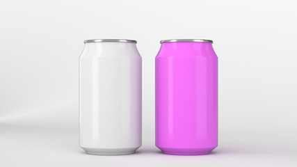 Two small white and purple aluminum soda cans mockup on white background