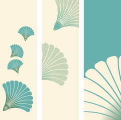 bookmarks set with flying seeds pattern in ivory blue shades