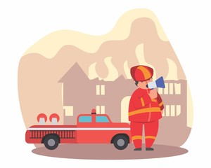 funny fireman firefighter fireguard extinguisher fire company heat flame red cartoon character
