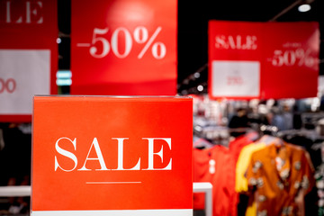 50 percent off sale at a department store