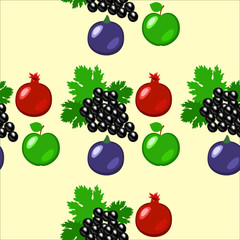 Fruits - apples, grapes, pomegranate, figs. Seamless pattern.