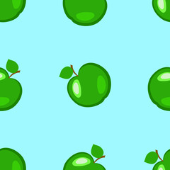 Apples. Fruits. Seamless pattern. Green elements, blue background