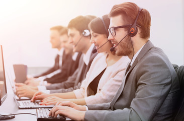 colleagues call centre workplace in the office