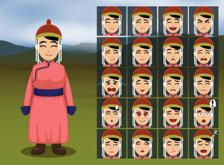 Mongolian Woman Cartoon Emotion faces Vector Illustration