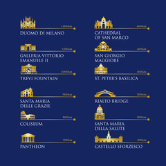 Infographic of Italy symbols, landmarks in gold color. Vector illustration. Rome, Venice, Milan, Italy
