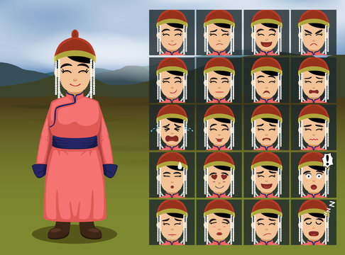 Mongolian Woman Cartoon Emotion faces Vector Illustration