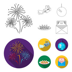 A video camera with smoke, a twirling holiday ball, a plate of sandwiches, an envelope with a greeting card. Event services set collection icons in outline,flat style vector symbol stock illustration