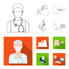 Intramuscular injection, prescription, Dentist, blood pressure measurement. Medicineset collection icons in outline,flat style vector symbol stock illustration web.