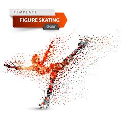 Figure skating - dot illustration. Sport template. Vector eps 10