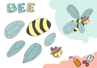 Funny Bee Paper Model. Small home craft project, applique paper game. Cut out and glue. Cutouts for children. Vector template.
