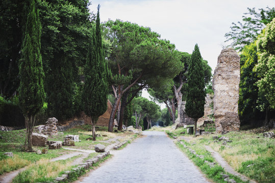 The ancient Appian Way (Appia Antica) in Rome