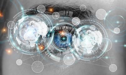Close-up of woman digital eye 3D rendering