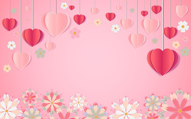 beautiful balloons of love and flowers that bloom. illustration of valentine's day
