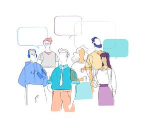 Fototapeta Gruppo di Persone che discutono di  notizie ed Eventi di Attualità obraz