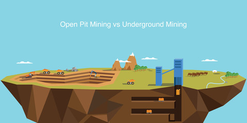 Illustration of the difference between open pit mining and underground mining. Flat design. Vector illustration.