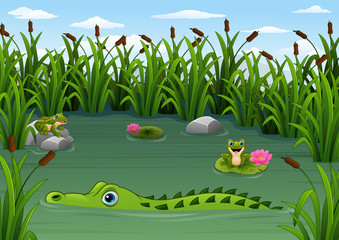 Cartoon alligator and Frogs in the pond