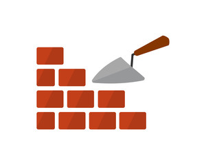 spade brick construction repair fix engineering tool equipment image vector icon logo