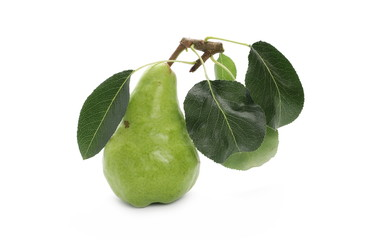 Fresh ripe pear with twig and leaves isolated on white background