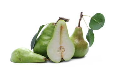 Fresh ripe pears with slice, twig and leaves isolated on white background