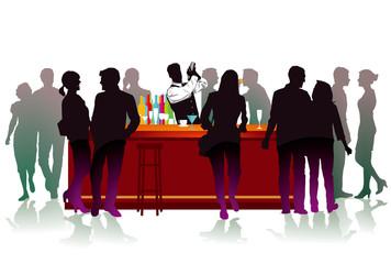 Bar mit Barkeeper, Cocktails und Getränke