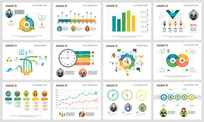 Colorful diagrams set for presentation slide templates. Business design elements. Planning concept can be used for annual report, advertising, flyer layout and banner design.