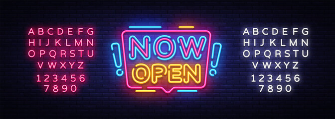 Now Open neon signs vector. Now Open Design template neon sign, light banner, neon signboard, nightly bright advertising, light inscription. Vector illustration. Editing text neon sign