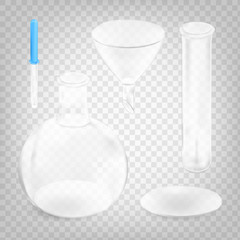 Stock vector illustration chemical instruments set isolated on a transparent background. Chemical flask, pipette, funnel, laboratory glass. EPS 10