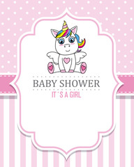 baby shower girl. Cute Unicorn. space for text
