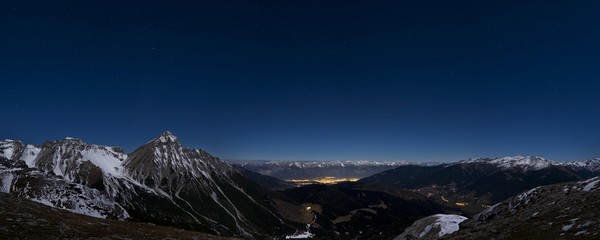 Mountain landscape, night, Serles in front, Innsbruck behind, Wipptal right, Nordkette behind, Stubai Alps, Tyrol, Austria, Europe