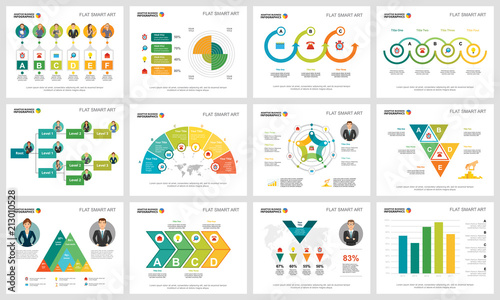 Colorful statistics and logistics infographic charts set