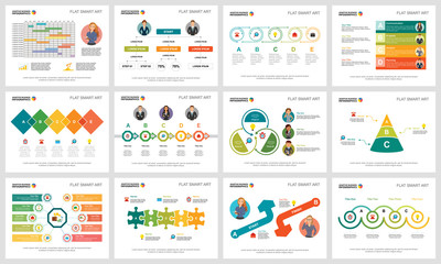 Colorful workflow or research concept infographic charts set. Business design elements for presentation slide templates. Can be used for financial report, workflow layout and brochure design.
