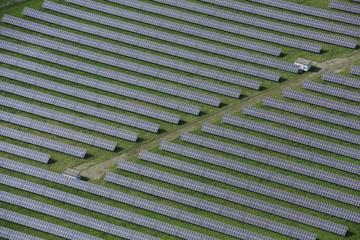 Aerial view, solar panels, solar farm, at Muhldorf, Upper Bavaria, Bavaria